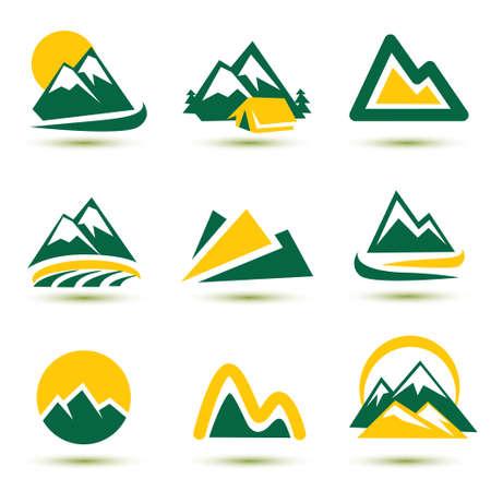 winter range: mountain icons set Illustration