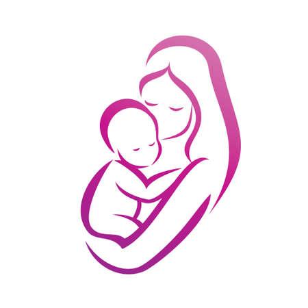 어머니와 그녀의 아기 실루엣, 고립 된 벡터 기호 일러스트