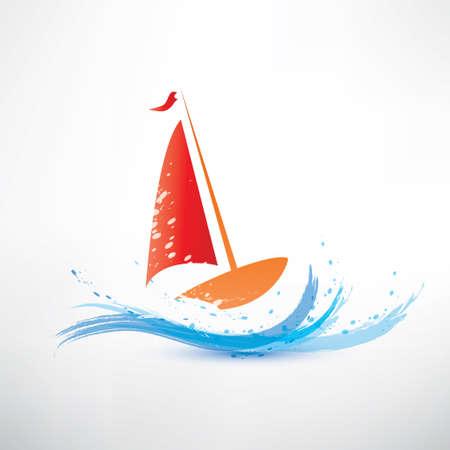 regatta: yacht and ocean wave symbol Illustration