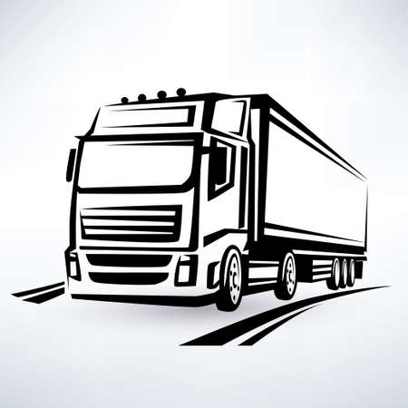 delivery truck:  europian truck outlined vector symbol