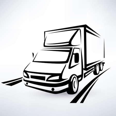 mini van: mini van outlined sketch, isolated vector symbol