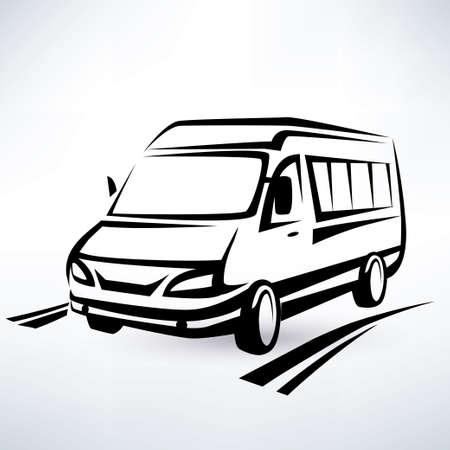 미니 밴 설명 스케치, 고립 된 벡터 기호 일러스트