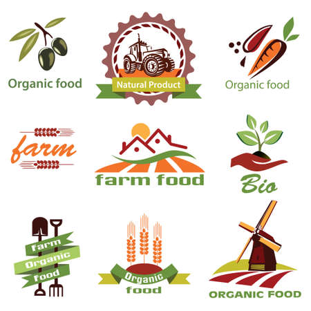 農場、農業のアイコンのラベル コレクションは、セット 1