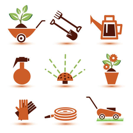 pruning: garden tools icons set