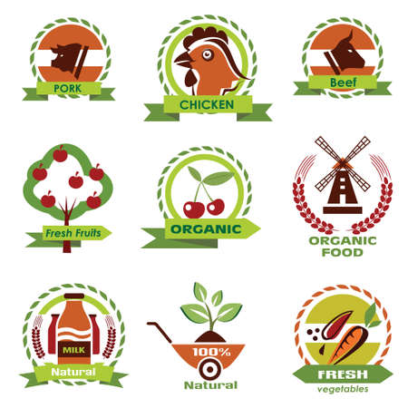 farm food, agriculture icons, labels collection, set 3 Vector