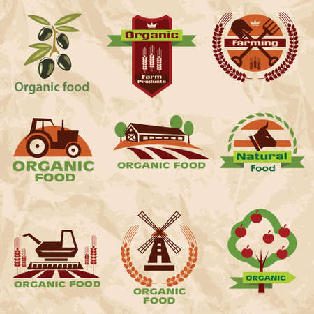 farm, agriculture icons, labels collection, set 2 Vector