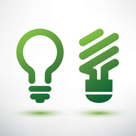 green light bulb: green eco light bulb icons set, low energy concept