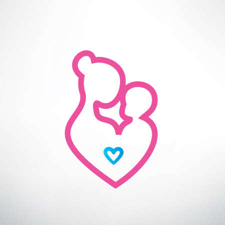 mother and baby symbol in a heart shape Vector