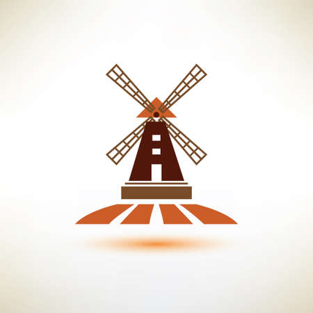 dutch landmark: windmill vector symbol, agriculture concept Illustration