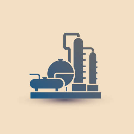 petrochemical plant symbol, refinery oil distillation icon Vectores