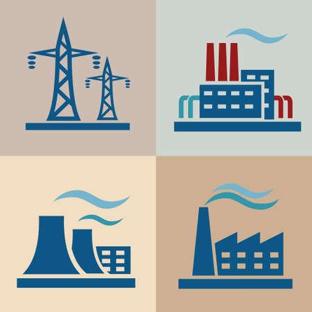 boiler: power plan, electrisity icons set