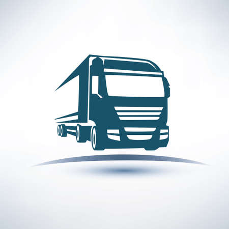 europian truck outlined vector symbol