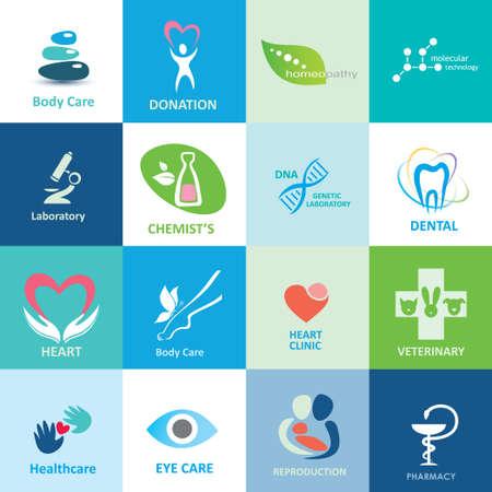 caduceus veterinary symbol: big set of medical icons, collection of emblems