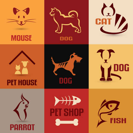 pet symbol collection, vintage emblems set Vector