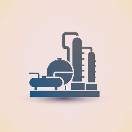 destilacion: petroqu�mica planta s�mbolo, icono de la destilaci�n de petr�leo de la refiner�a Vectores