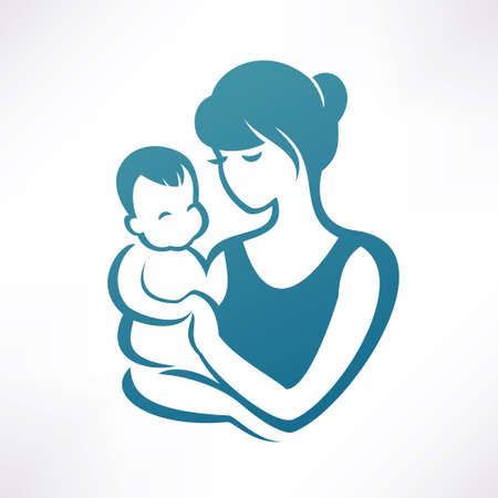 baby moeder: moeder en baby gestileerde vector symbool