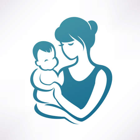mom: mother and baby stylized vector symbol Illustration