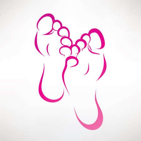 estampado: impresión del pie símbolo vector ountlined Vectores