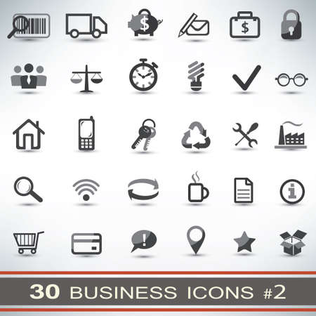 time management: 30 business icons set