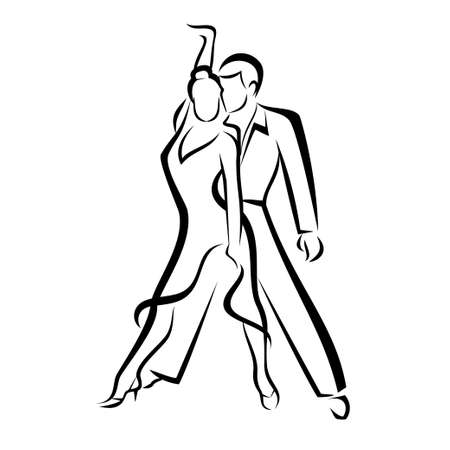 dancing couple outlined sketch Иллюстрация