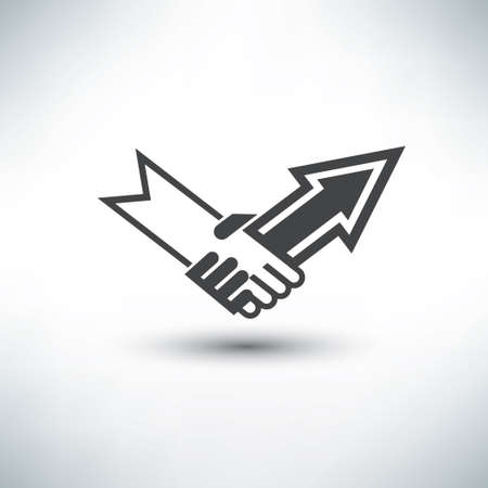 handshake stylized symbol, business concept icon