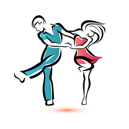 カップルの輪郭を描かれたスケッチをダンス ジャイブします。