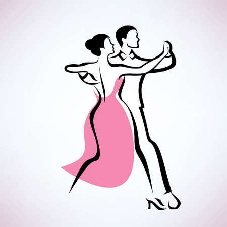 dancing couple, outlined vector sketch