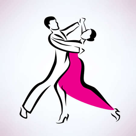 sexy young couple: dancing couple, outlined vector sketch