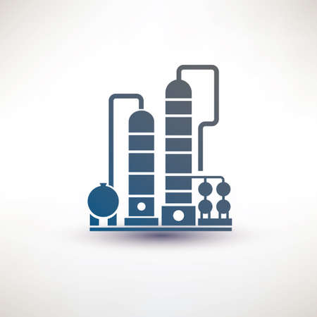 petrochemical plant symbol, refinery oil distillation icon Illustration