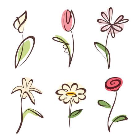 dessin fleur: main d�crit dessin�e collection de fleurs, des �l�ments de conception r�gl�e Illustration