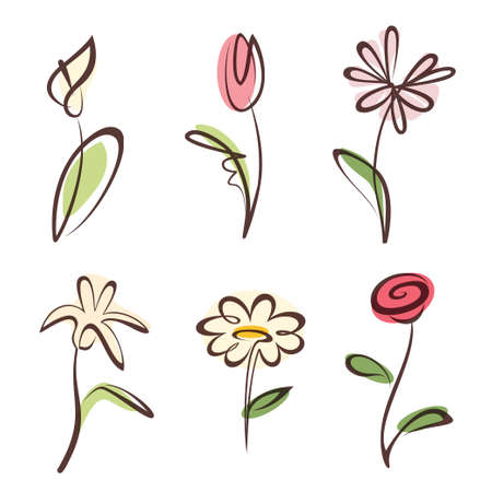 outlined hand drawn flower collection, design elements set Vector