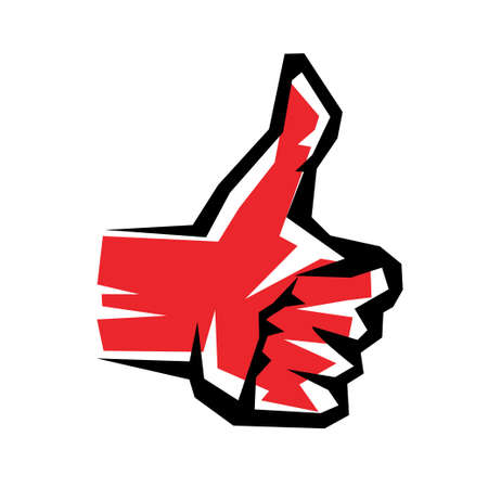 hand showing thumbs up: thumb up stylized vector symbol Illustration