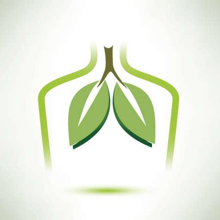 pulmones aislados símbolo vector, en Collor verde suave estilizado como hojas