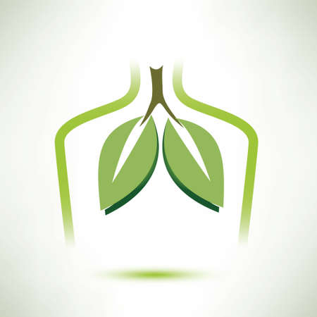 lungs isolated vector symbol, in soft green collor stylized as a leaves Illustration
