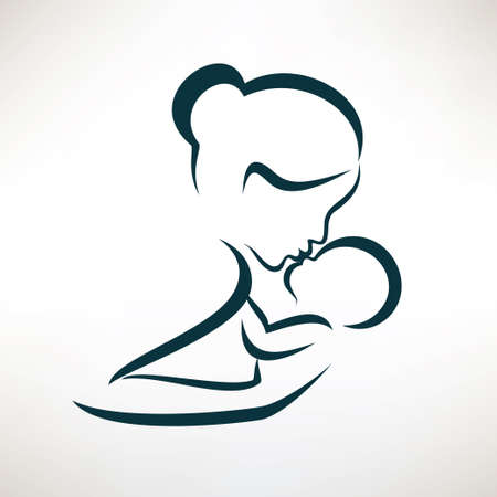 mom and baby stylized vector symbol, outlined sketch 矢量图像
