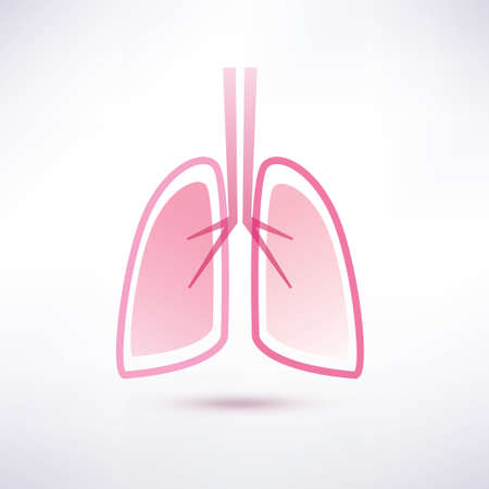 pulmonology: lungs isolated vector symbol, in soft pink collors