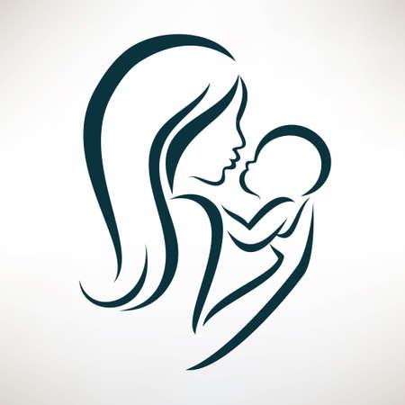 madre e hijos: la mamá y el bebé estilizado símbolo vector, dibujo esbozado