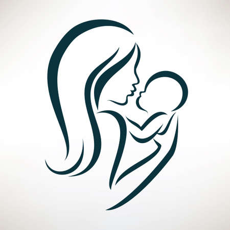 mom and baby stylized vector symbol, outlined sketch Çizim