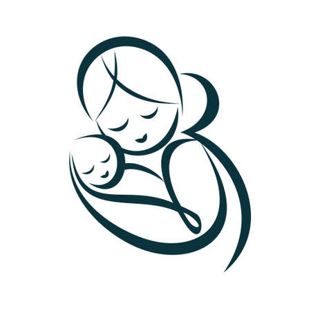 her: young mom hugs her baby, stylized vector symbol Illustration