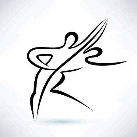 dancing couple, outlined vector sketch, stilized symbol Illustration