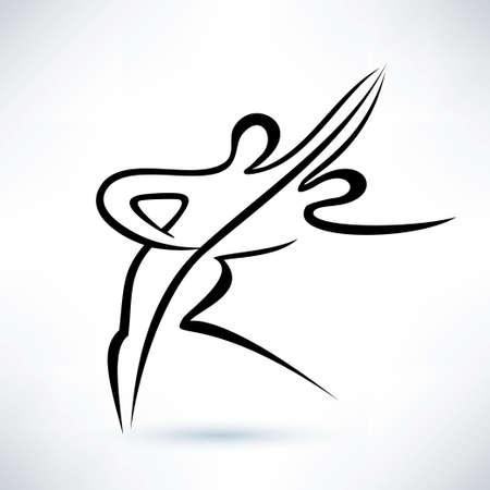 dancing couple, outlined vector sketch, stilized symbol Illustration