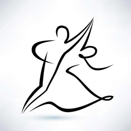 pareja bailando: pareja de baile, dibujo vectorial esbozado, símbolo stilized