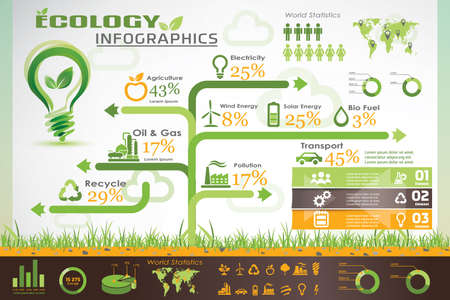 environment friendly: ecology infographics, environment information template and vector icons collection Illustration