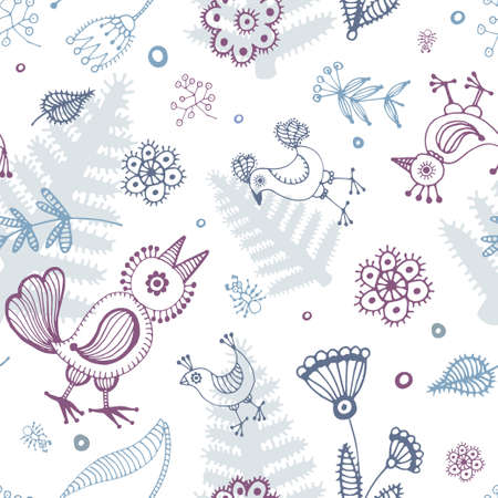 abstract seamless background, birds and flowers  hand drawn pattern Vector