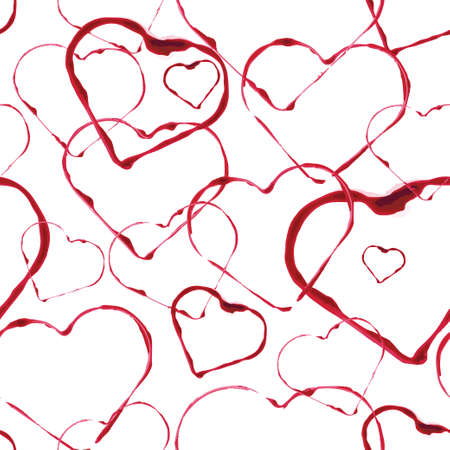 red wine stain: abstract seamless background, watercolors heart stamps, wine drops Illustration