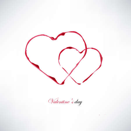 valentines day card, watercolor heart stamps Vector