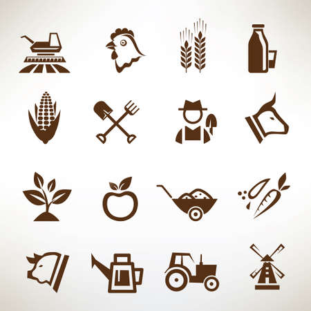 farm and agriculture vector icons collection Vector