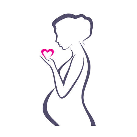 abdomen women: pregnant woman symbol, stylized vector sketch
