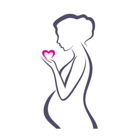 vientre femenino: s�mbolo de la mujer embarazada, dibujo vectorial estilizada