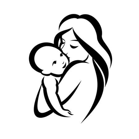 mother and baby stylized vector symbol Illusztráció